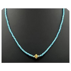 Sleeping Beauty Turquoise and 18k Gold Necklace