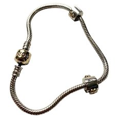 Genuine Pandora Moments 14k Gold and Sterling Bracelet and Two Flower Clip Charms