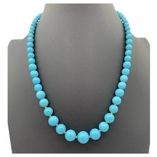 Necklace of Sleeping Beauty turquoise and 14k gold