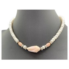 Choker style Necklace of Pink Opal and Cultured Faceted Pearls