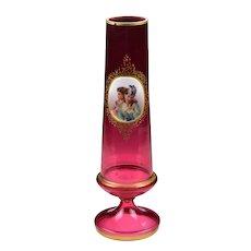 Antique Moser Bohemian Cranberry Art Glass Portrait Medallion Vase