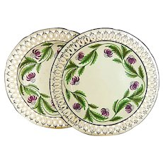 A Pair of Marked Spode Creamware Reticulated Plates , England, Circa 1810