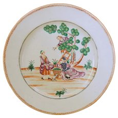 """A fine large 18th c. Famille Rose Chinese Export plate in the """"Cherry Pickers"""" pattern"""