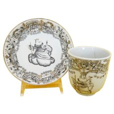 An 18th century Chinese Export Porcelain coffee cup and saucer with Juno and her Peacock