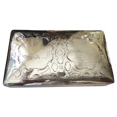 A Handsome Dutch Silver Tobacco Box With Engraved Decoration, Early 19th Century
