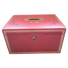 A Victorian Red Morocco Leather Jewel Box by Carlisle and Watts, Edinburgh