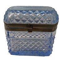 Blue Cut Glass Cache box