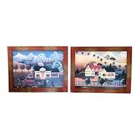 Set of Folk paintings in the manner of Grandma Moses