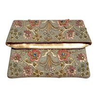Embroidered evening clutch with rhinestones , faux stones, seed pearls and gold tone beads
