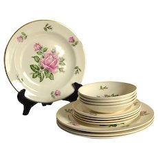 Harmony House by Salem Martha Pattern Dinnerware Set, Service for 4, Plates, Bread and Butter Dishes, Dessert Bowls
