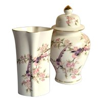 Vase and Ginger Jar Set, Sakura by Toyo Japan, Pink Cherry Blossoms, Purple Birds, Gold Trim
