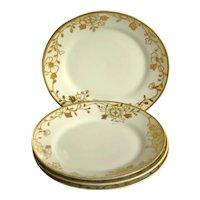 Vintage Nippon Dessert Plates, White with Gold Trim, Set of 4