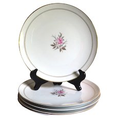 Noritake Daryl Dinner Plates, Pink Roses and Gray Leaves, Gold Bands, Set of 5