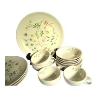 Dinnerware Set, April by Peter Terris for Shenango China Dinner Plates, Berry Bowls, Coffee Cups and Saucers