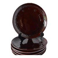 Marcrest Daisy Dot Plates, Dark Brown, Set of 6