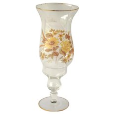 Viking Glass Taper Candle Holder with Shade, Yellow and Brown Flowers