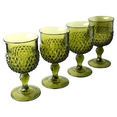 Green Diamond Point Large Water Goblets by Indiana Glass