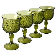 Indiana Glass Diamond Point Green Wine Glasses, Set of 4