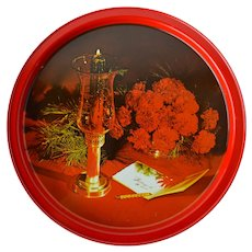 Red Metal Tray, Christmas Design with Carnations, Pine, and Candle