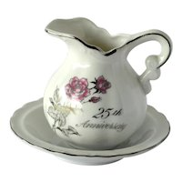 25th Anniversary Cream Pitcher and Saucer Set with Pink Roses and Wedding Bells