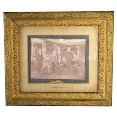 Antique Photo in Gilded Wood Frame, Men Outside of Farmhouse, Victorian Era