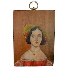 Primitive Style Folk Art Painting on Wood-Portrait of Woman in Hat- C. Lavin