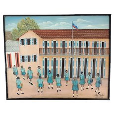 Vintage Haitian Art Painting- Girl's School with Students in Yard-Eddy Myrthil