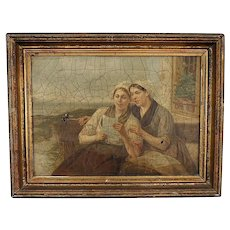 """Beautiful Oil on Canvas- """"The Letter"""" by Henri-Jacques Bource- in HORRIBLE CONDITION"""