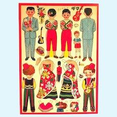 Large Sheet of 1950's Vintage Japanese Paper Dolls- Teens