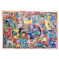 Vintage Japanese Paper Sugoroku Game- Samurai, Ninjas, AstroBoy