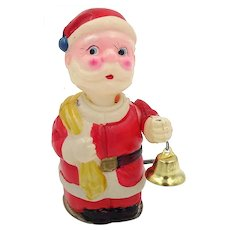 Occupied Japan Wind-Up Celluloid Santa with Bell and Nodding Head-A