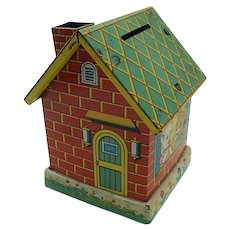 Early 1950's Tin Japanese House Bank