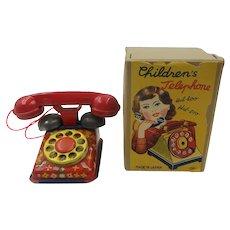 1950's Japanese Tin Toy Small Children's Telephone in Original Box