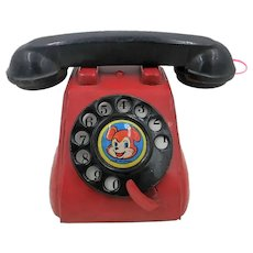 1950's-60's Tin Japanese Telephone-Red with Bear on Dial