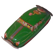 1950's Japanese Large Penny Toy Car with Animals- Green