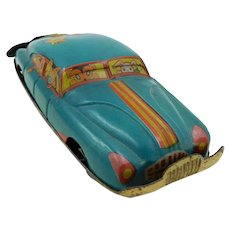 1950's Japanese Large Penny Toy Car with Animals-Turquoise