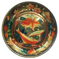 Large Early Vintage Japanese Tin Bowl-Animals Fishing