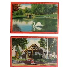 Two Vintage Post Cards- Huntington, NY- Heckscher Park- Huntington Public Library