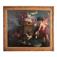 Oil on canvas  Italian of the 1700s depicting the young god Bacchus with flowers and animals