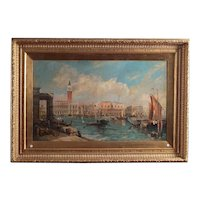 wonderful Italian oil painting on canvas from the 1800s depicting Venice