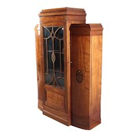 Decò style showcase in mahogany with floral inaly