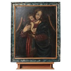 """1600 Italian oil on canvas """"Madonna with baby jesus"""""""