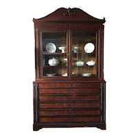 Large Belgian bookcase from the 1800s with writing desk