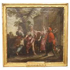 Italian oil on canvas from 1700 depicting outdoor  personages
