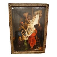 """Oil on panel """"Deposition from the cross"""" of the Flemish 1600"""