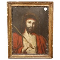 """Oil on panel french from 1600 depicting """"Christ"""" jesus"""
