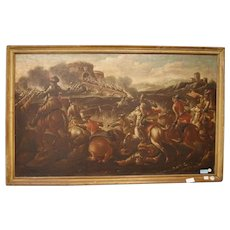 Pair of Italian oils on canvas from 1600 depicting Battle
