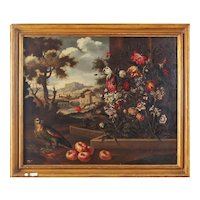 Extraordinary oil painting on canvas  Italian landscape with flowers from the 1600s