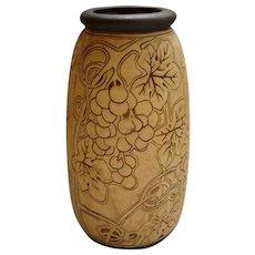 """Weller Pottery BURNTWOOD 12"""" Art Nouveau Grapevine Vase"""