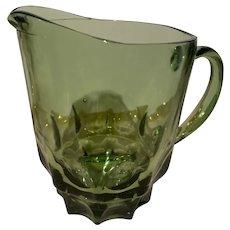 Indiana Glass Kings Crown Green Glass Pitcher Thumbprint